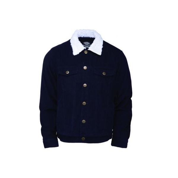 Blouson Dickies Naruna bleu en velours côtelé doublé.
