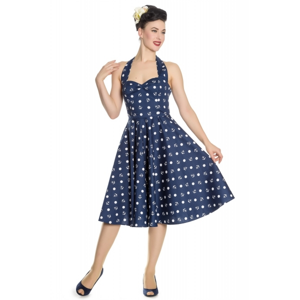 Robe pin-up rockabilly ancres et pois.