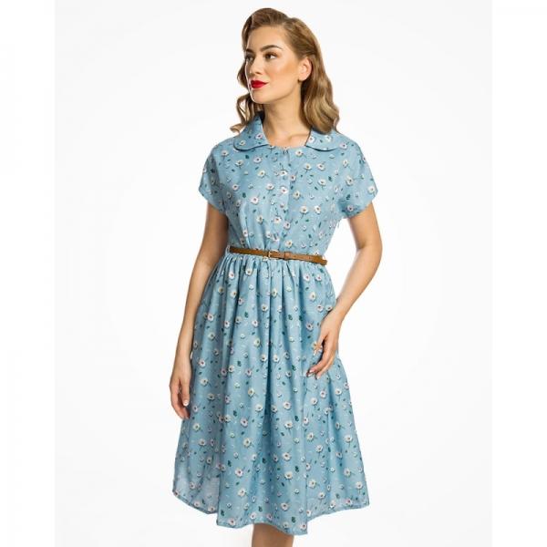 Robe vintage bleue à fleurs Lindy Bop.