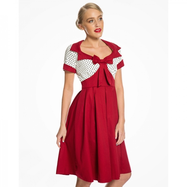 Robe pin-up vintage rouge à pois Lindy bop.