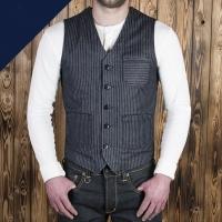 Gilet rétro Pike Brothers rayé bleu 1937 roamer vest.