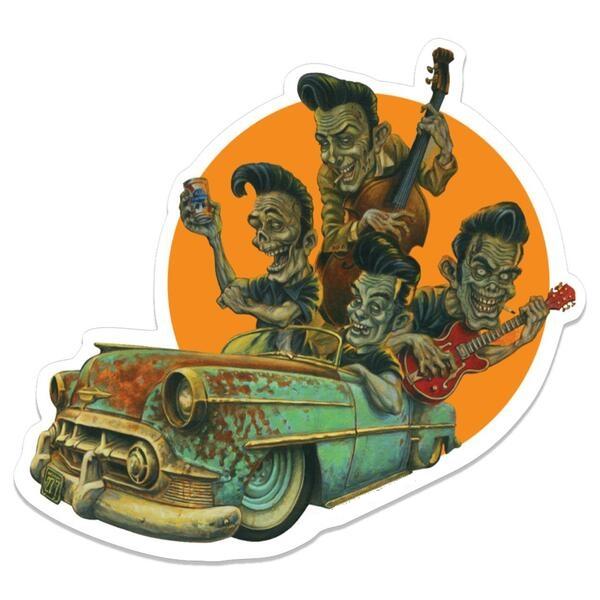 Sticker rockabilly et voiture américaine.