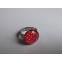 bague pin-up rouge à pois