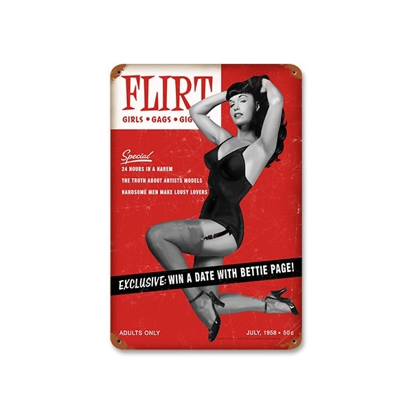 Plaque métal retro Bettie Page