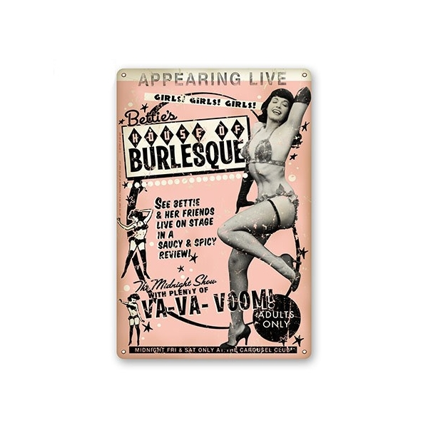Plaque métal burlesque Bettie page.