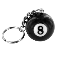 Porte clé boule de billard n°8, eight ball