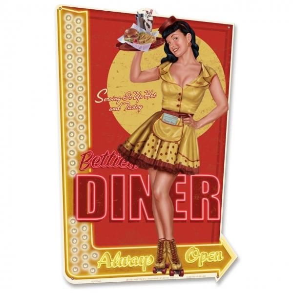 Plaque métal diner Bettie Page.