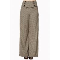 Pantalon femme vintage à carreaux marron.